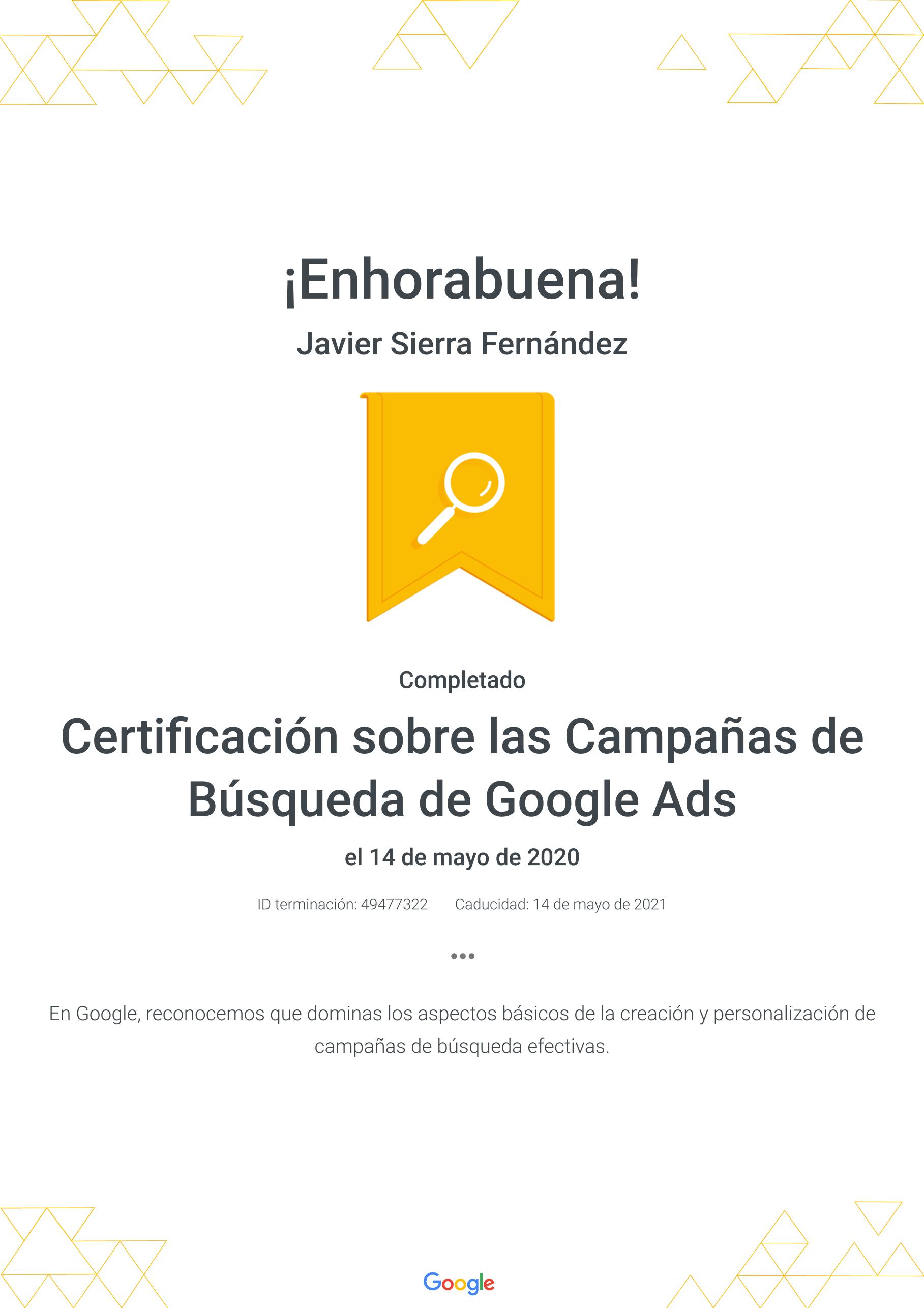 Certificado Google Ads Campañas de Busqueda