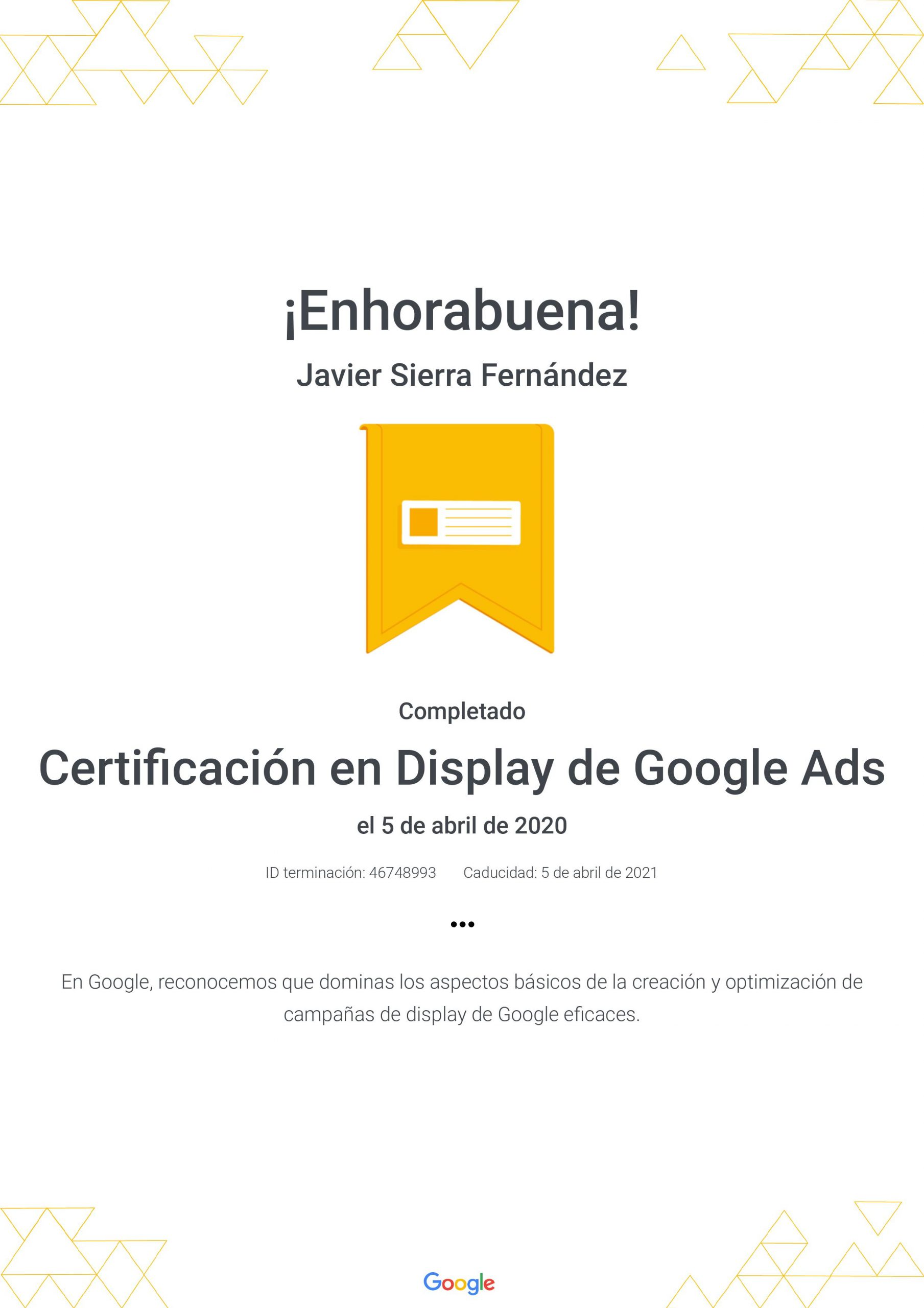 Certificado Google Ads Camapañas de Display